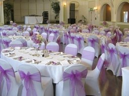 White stretch Chair Cover with Lilac Organza Sash bow