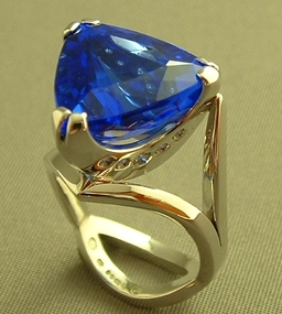 Blue Quartz and Diamond Ring in White Gold, Designed and Handmade by Phillip Godfrey