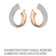 Swarovski Exist Small Pierced Earrings, Rose Gold Plated