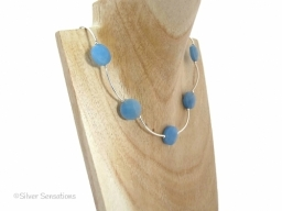 Very Limited Edition Blue Jade and Sterling Silver Curved Tubes Necklace