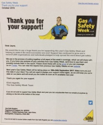 Our thank you from the  Gas safety Week campaign