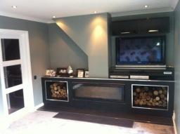 Refurb living room with Stovax wood burner.