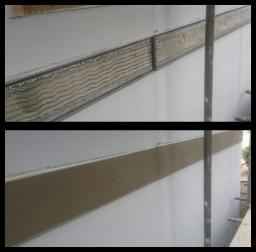 Exterior render, stainless steel beaded & repaired