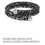 Swarovski Crystal Dust Bangle, Double Dark Crystals