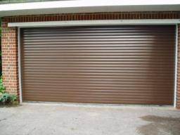 Priory automated shutter in light brown
