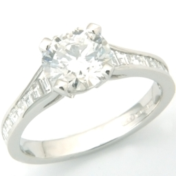 Platinum Tiffany Style Diamond Engagement Ring With Diamond Set Shoulders