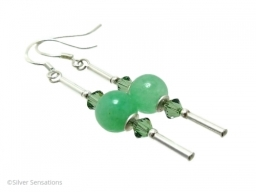 Green Aventurine Swarovsi Crystals and Sterling Silver Tubes Earrings