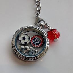 Silver crystal floating locket with sports theme