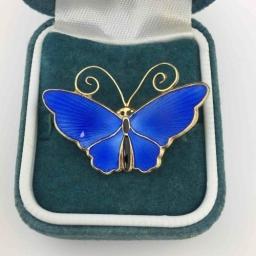 Antique blue enamel pin brooch butterfly by D. Andersen, Norway