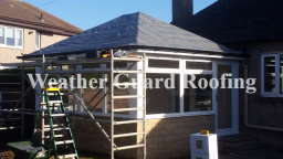 Roofers prepared Sun Room ready for slating