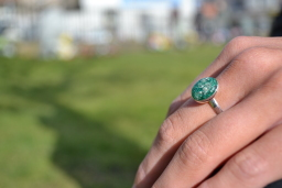 Ashes Emerald green Sterling silver Ring