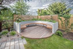 Circular bench for garden design in Dulwich