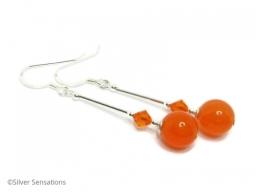 Long Bright Orange Jade Earrings With Sterling Silver
