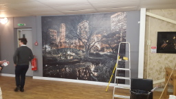 Commercial mural hanging