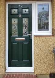 Composite door with bespoke side window