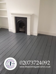 Painted Flooring and Fireplace in London