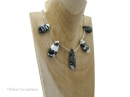 Unique Black and White Zebra Jasper Necklace With Lots of Sterling Silver and Clasp