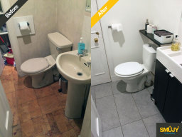 Bathroom upgrade before and after photo