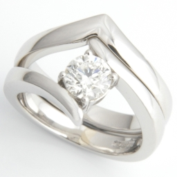 Platinum Fitted Wedding Ring To Contemporary Solitaire Engagement Ring