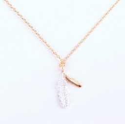 Tilley & Grace Silver + Gold Feather Necklace