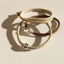 Italian leather and silver bead bracelets