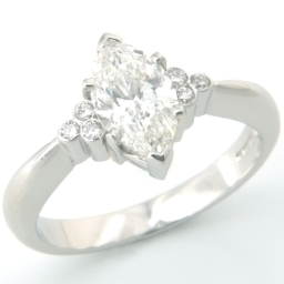 Platinum Marquise Cut Cluster Diamond Engagement Ring