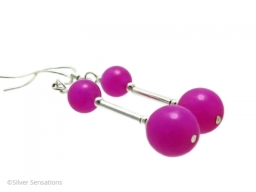 Limited Edition Fuchsia Pink Jade and Sterling Silver Tubes Earrings
