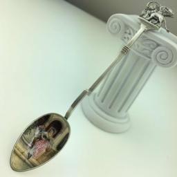 Antique Italian enamel solid silver spoon with Venetian lion on top