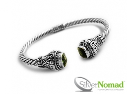 925 Sterling Silver Balinese Torque Bangle with Gemstone by Silver Nomad Jewellery UK