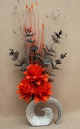 Artificial Flowers - Orange and Grey
