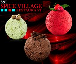 Pistachio, Raspberry and chocolate ice cream (V)