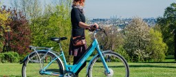 Step-through Emu e-bike overlooking a park