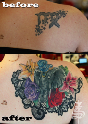 tattoo cover up with  flowers @ Stotker Tattoo
