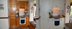 Before Dark Wood After Light Grey Kitchen Doors Alsager