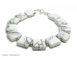 Bespoke Design White and Pastel Grey Howlite Bracelet With Sterling Silver Beads and Clasp