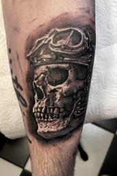 skull realistic tattoo,Stotker Tattoo shop London