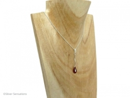 Elegant Red Swarovski Crystal and Solid Sterling Silver Bar Pendant and Chain Necklace