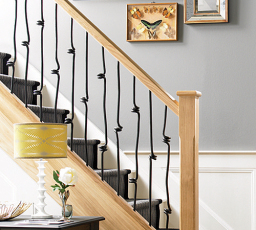 Elements stairs with spiral metal spindles