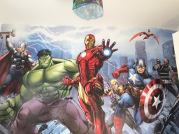 Kids Marvel comic wall mural