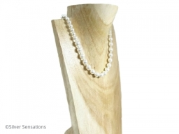 White Pearls Wedding Necklace With Swarovski Pearls  Sterling Silver