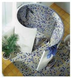 Fundo - getting creative with tiles, a surprisingly effective shaped shower.