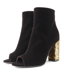 Brown Velvet Peep Toe Embelished Ankle Boots Onefavourite Designer Italian Shoes 123 Grande