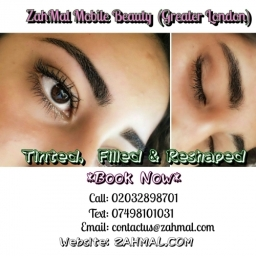 Eyebrow reshape and tint, book now on zahmal.com