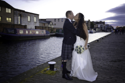 Romantic wedding portrait at Lochrin Basin