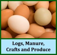 wood logs, manure, crafts, honey, sausages