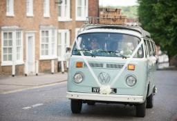 Buttercup Bus - blue wedding car campervan hire