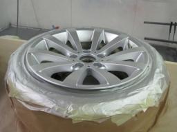Face of wheel being refurbished