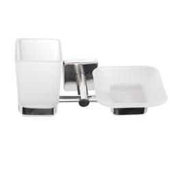 Kapitan Quattro Frosted Glass Toothbrush and Soap Holder