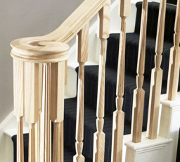Classic stair banister with continuous handrail