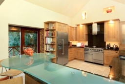 Bespoke oak kitchen with American fridge/freezer
